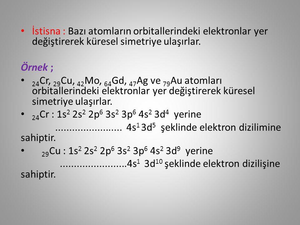 İyonların Elektron Dizilişi Nötr bir atom elektron alırken veya verirken en yüksek enerjili orbitallerini kullanır.