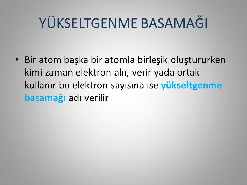 YÜKSELTGENME BASAMAĞI Bir atom başka bir atomla birleşik oluştururken kimi zaman elektron alır, verir yada ortak kullanır bu elektron sayısına ise yükseltgenme basamağı adı verilir
