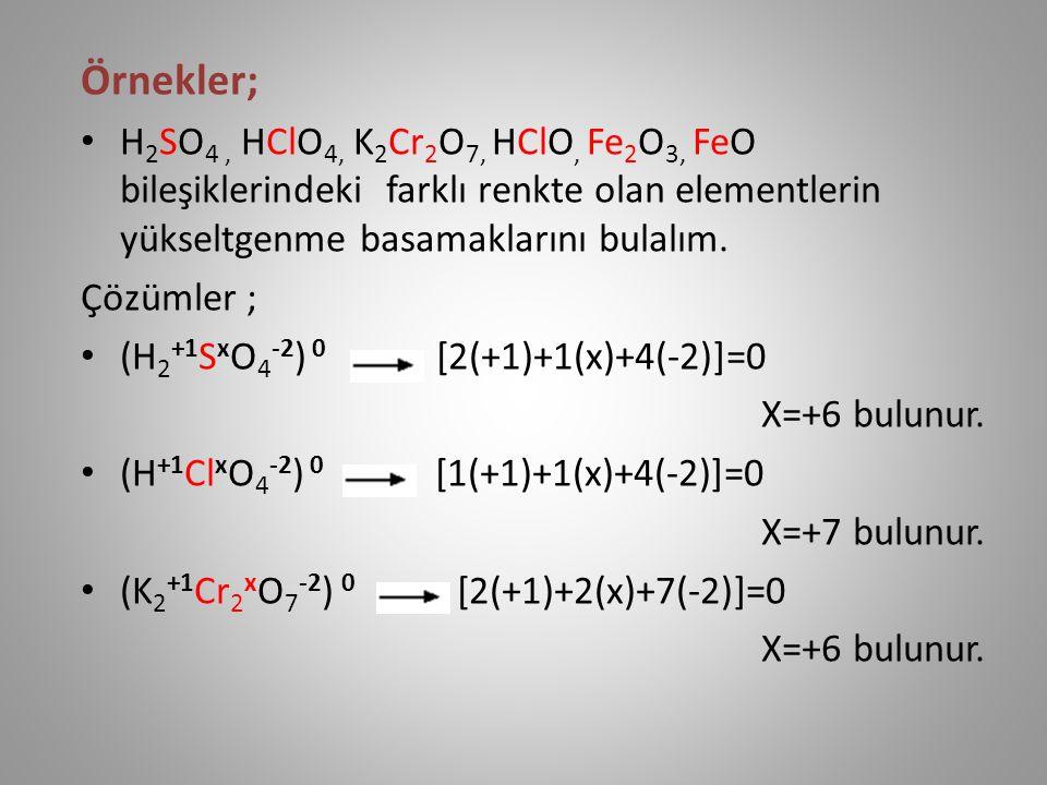 Örnekler; H 2 SO 4, HClO 4, K 2 Cr 2 O 7, HClO, Fe 2 O 3, FeO bileşiklerindeki farklı renkte olan elementlerin yükseltgenme basamaklarını bulalım.