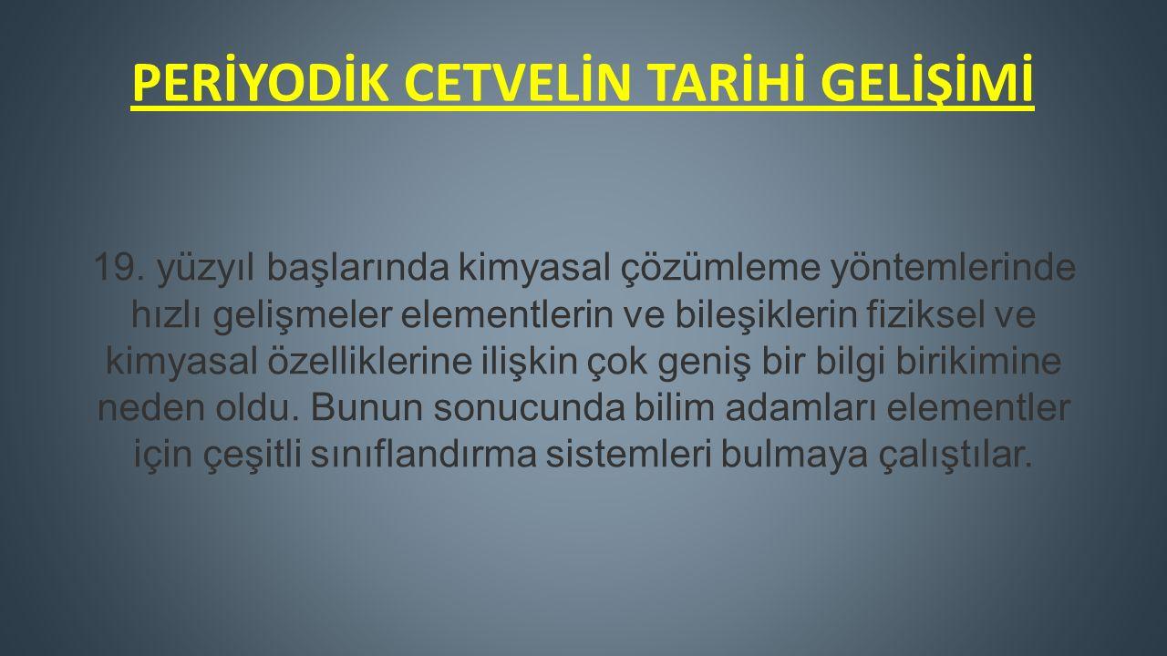 PERİYODİK CETVELİN TARİHİ GELİŞİMİ 19.