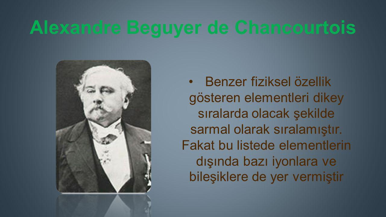 Alexandre Beguyer de Chancourtois Benzer fiziksel özellik gösteren elementleri dikey sıralarda olacak şekilde sarmal olarak sıralamıştır.