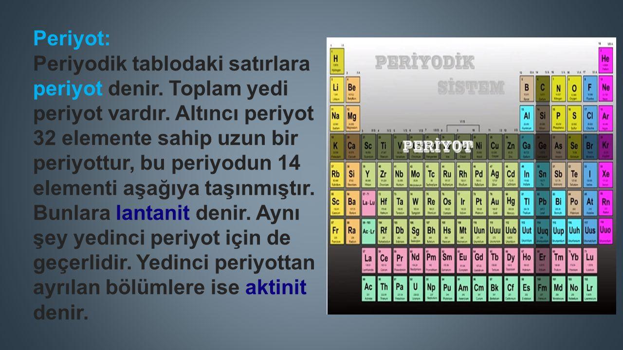 Grup: Dış katman elektron dizilimi aynı olan elementlerin oluşturduğu birliğe grup denir.