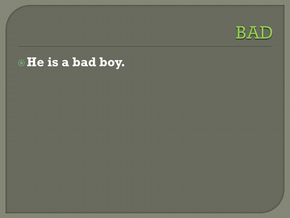  He is a bad boy.