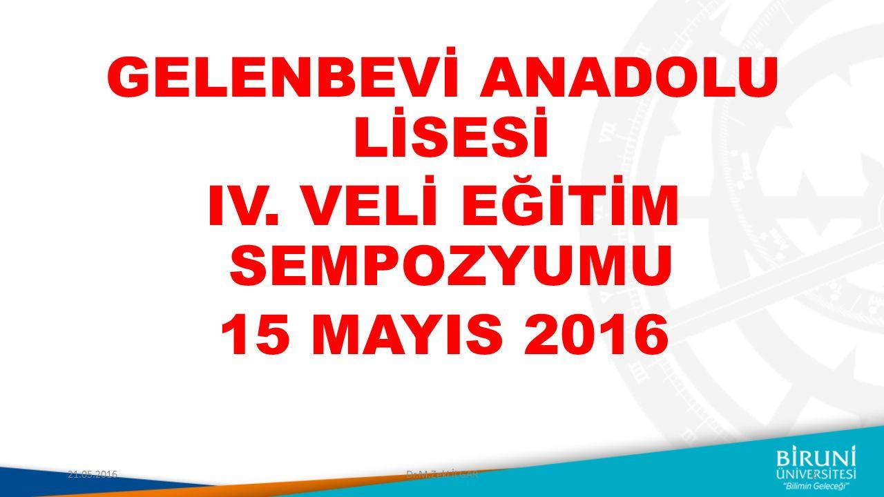 GELENBEVİ ANADOLU LİSESİ IV. VELİ EĞİTİM SEMPOZYUMU 15 MAYIS 2016 21.05.20162Dr.M.Zeki İLGAR