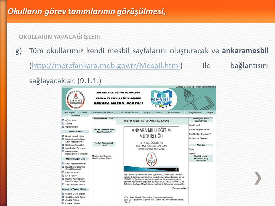 f)Okul komisyonları, ilçelerindeki okulların öğretmen ve öğrencilerinin yerel yönetimler, İŞKUR, STK, üniversiteler gibi kurum ve kuruluşların düzenle