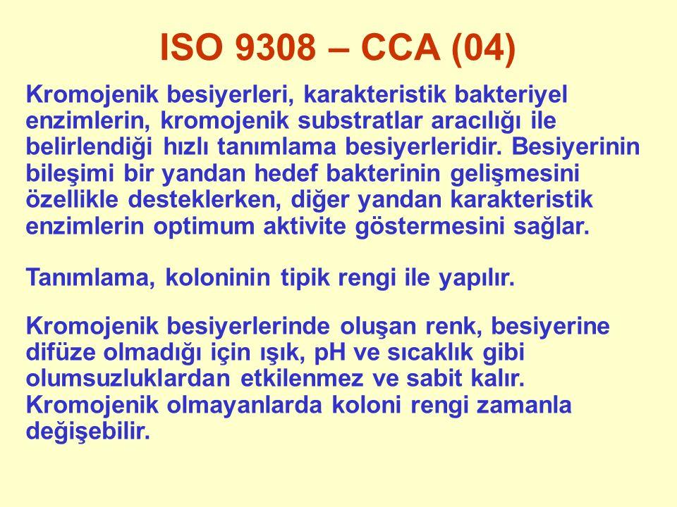 ISO 9308 – CCA (04) Kromojenik besiyerleri, karakteristik bakteriyel enzimlerin, kromojenik substratlar aracılığı ile belirlendiği hızlı tanımlama bes
