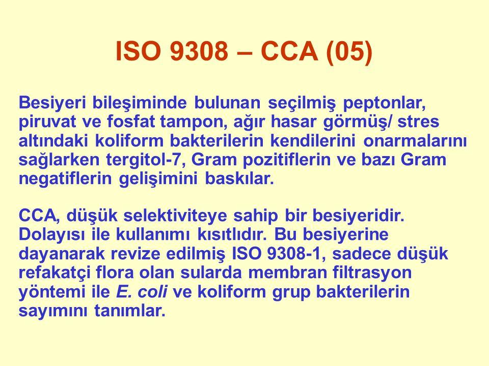 ISO 9308 – CCA (05) Besiyeri bileşiminde bulunan seçilmiş peptonlar, piruvat ve fosfat tampon, ağır hasar görmüş/ stres altındaki koliform bakterileri