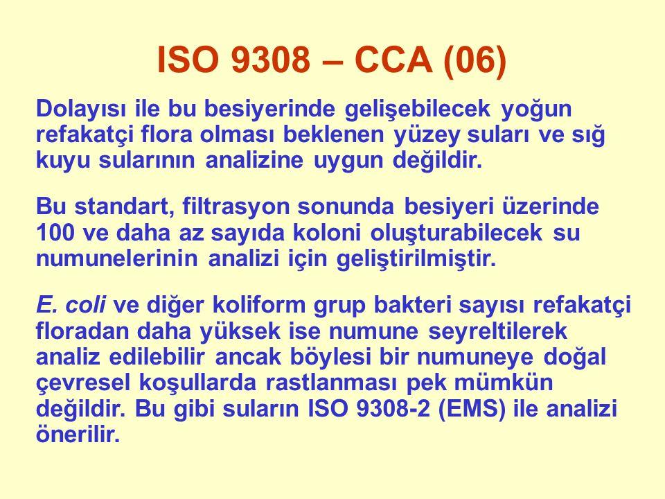 ISO 9308 – CCA (06) Dolayısı ile bu besiyerinde gelişebilecek yoğun refakatçi flora olması beklenen yüzey suları ve sığ kuyu sularının analizine uygun