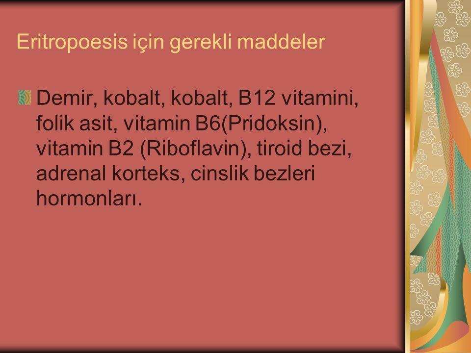 Eritropoesis için gerekli maddeler Demir, kobalt, kobalt, B12 vitamini, folik asit, vitamin B6(Pridoksin), vitamin B2 (Riboflavin), tiroid bezi, adren