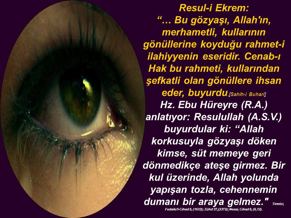 Resul-i Ekrem: … Bu gözyaşı, Allah ın, merhametli, kullarının gönüllerine koyduğu rahmet-i ilahiyyenin eseridir.