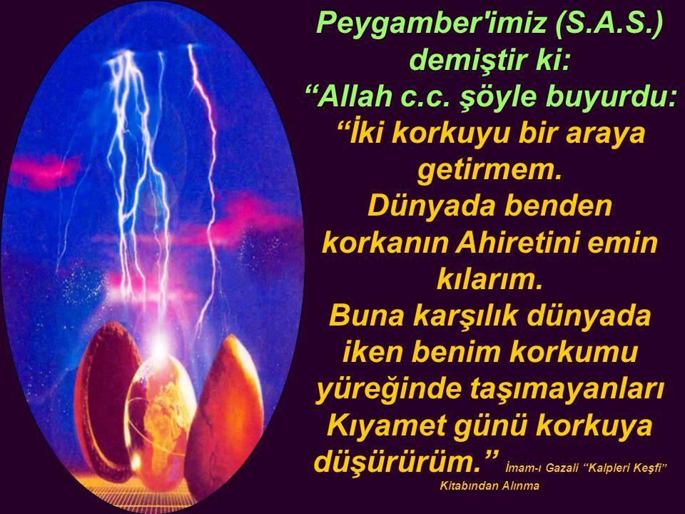 Peygamber imiz (S.A.S.) demiştir ki: Allah c.c. şöyle buyurdu: İki korkuyu bir araya getirmem.