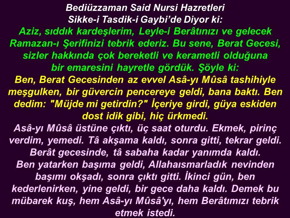 Bediüzzaman Said Nursi Hazretleri Sikke-i Tasdik-i Gaybi'de Diyor ki: Aziz, sıddık kardeşlerim, Leyle-i Berâtınızı ve gelecek Ramazan-ı Şerifinizi tebrik ederiz.