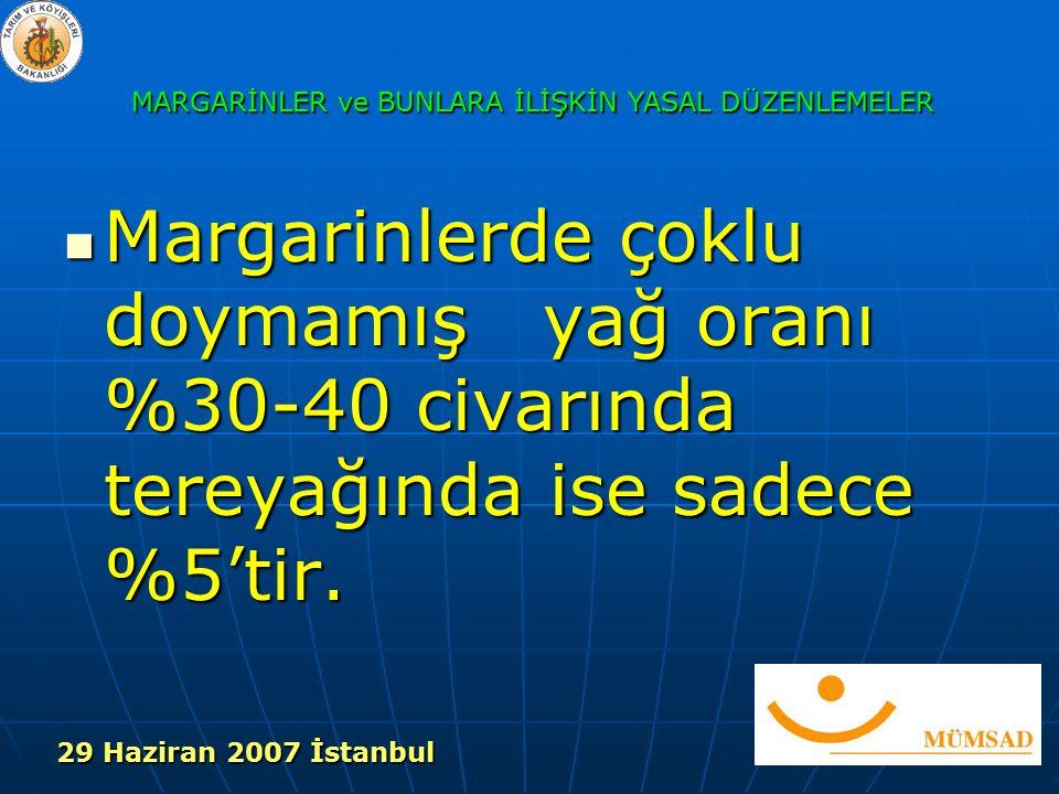 Margarinlerde çoklu doymamış yağ oranı %30-40 civarında tereyağında ise sadece %5'tir.