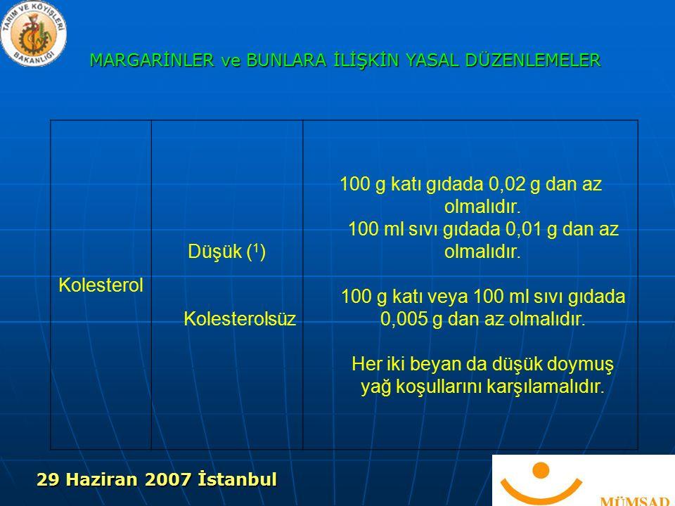 Kolesterol Düşük ( 1 ) Kolesterolsüz 100 g katı gıdada 0,02 g dan az olmalıdır.