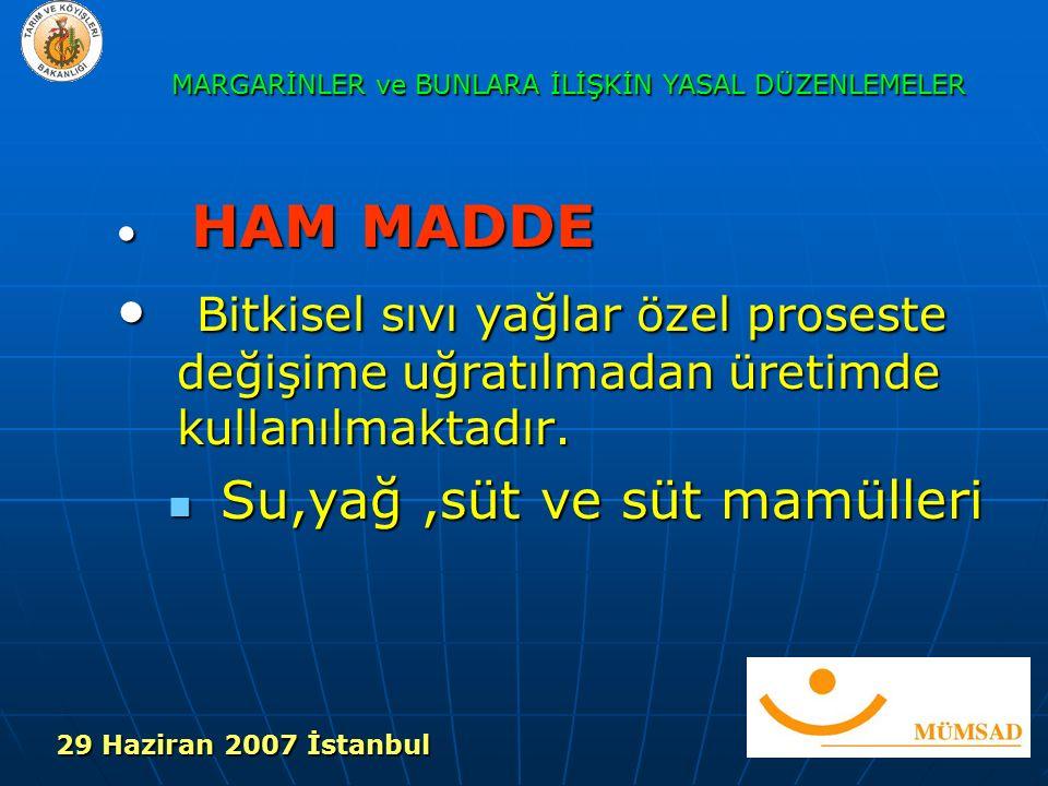 HAM MADDE HAM MADDE Bitkisel sıvı yağlar özel proseste değişime uğratılmadan üretimde kullanılmaktadır.