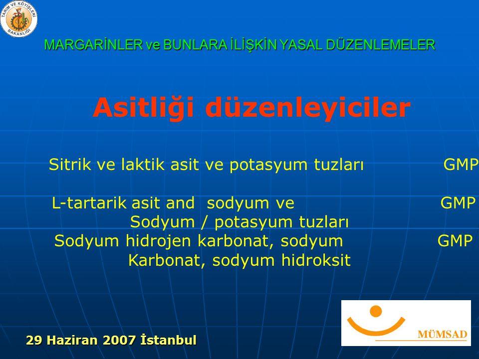 MARGARİNLER ve BUNLARA İLİŞKİN YASAL DÜZENLEMELER Asitliği düzenleyiciler Sitrik ve laktik asit ve potasyum tuzları GMP L-tartarik asit and sodyum ve GMP Sodyum / potasyum tuzları Sodyum hidrojen karbonat, sodyumGMP Karbonat, sodyum hidroksit 29 Haziran 2007 İstanbul