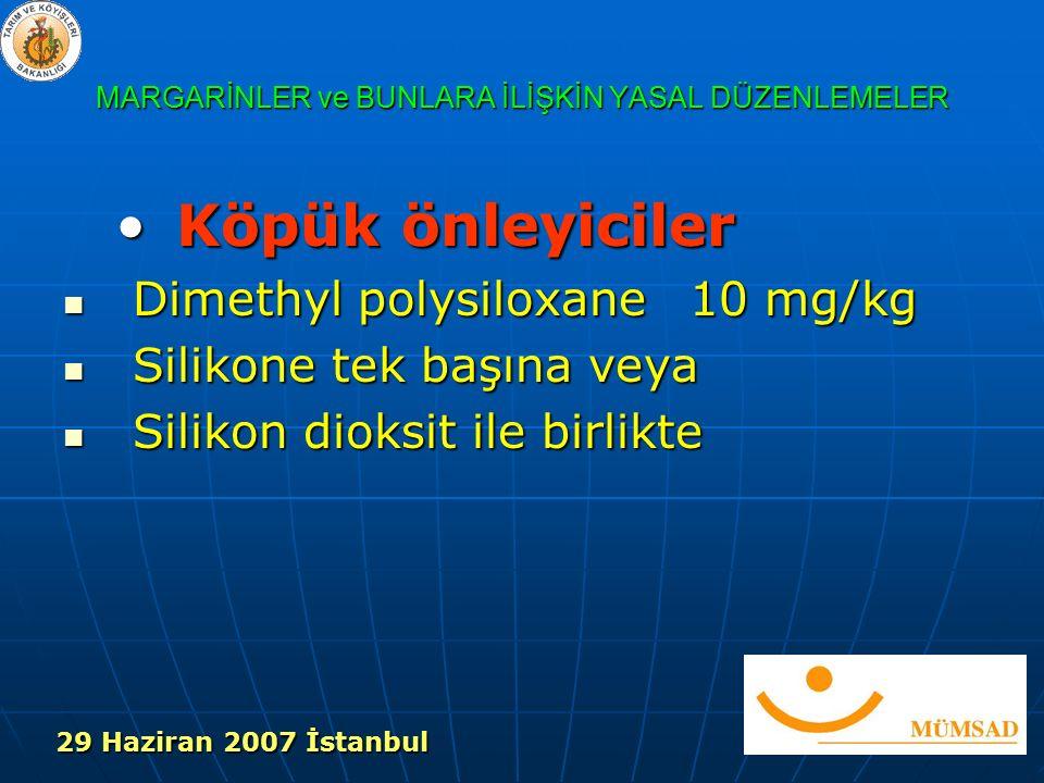 MARGARİNLER ve BUNLARA İLİŞKİN YASAL DÜZENLEMELER Köpük önleyicilerKöpük önleyiciler Dimethyl polysiloxane 10 mg/kg Dimethyl polysiloxane 10 mg/kg Silikone tek başına veya Silikone tek başına veya Silikon dioksit ile birlikte Silikon dioksit ile birlikte 29 Haziran 2007 İstanbul