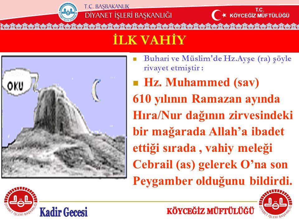 T.C. KÖYCEĞİZ MÜFTÜLÜĞÜ İLK VAHİY Buhari ve Müslim'de Hz.Ayşe (ra) şöyle rivayet etmiştir : Hz. Muhammed (sav) 610 yılının Ramazan ayında Hıra/Nur dağ