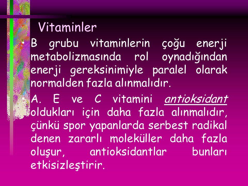 Vitaminler B grubu vitaminlerin çoğu enerji metabolizmasında rol oynadığından enerji gereksinimiyle paralel olarak normalden fazla alınmalıdır. A. E v