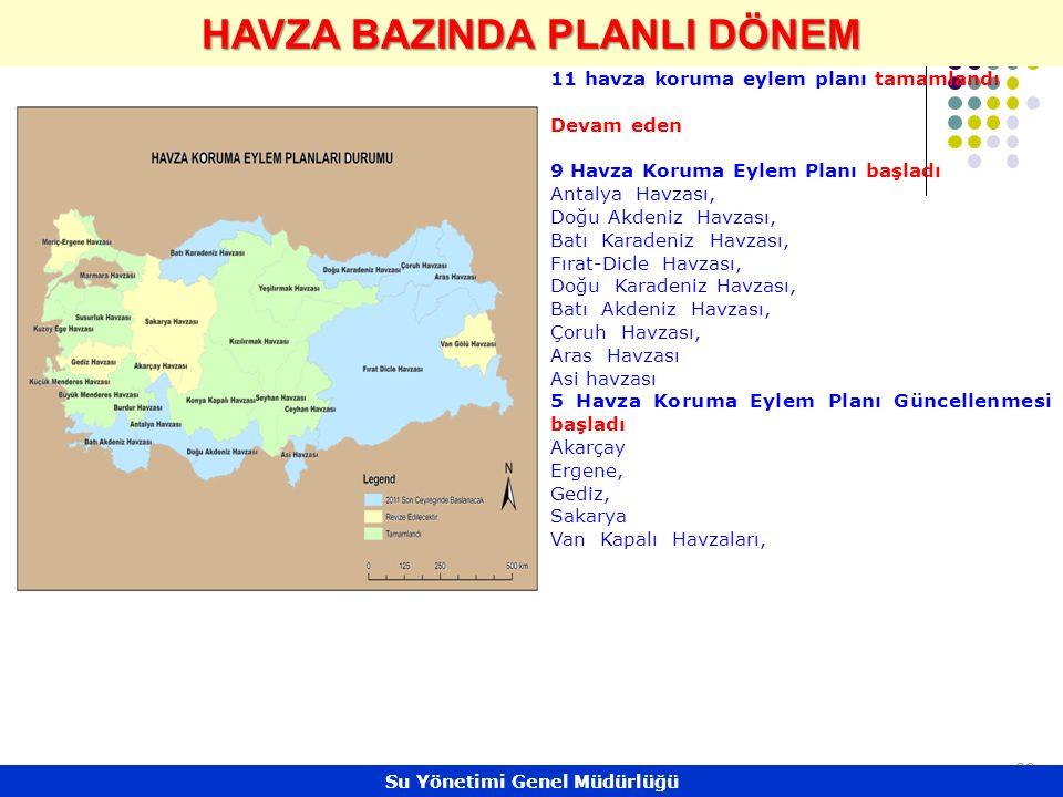 28 HAVZA BAZINDA PLANLI DÖNEM 11 havza koruma eylem planı tamamlandı Devam eden 9 Havza Koruma Eylem Planı başladı Antalya Havzası, Doğu Akdeniz Havzası, Batı Karadeniz Havzası, Fırat-Dicle Havzası, Doğu Karadeniz Havzası, Batı Akdeniz Havzası, Çoruh Havzası, Aras Havzası Asi havzası 5 Havza Koruma Eylem Planı Güncellenmesi başladı Akarçay Ergene, Gediz, Sakarya Van Kapalı Havzaları, Su Yönetimi Genel Müdürlüğü