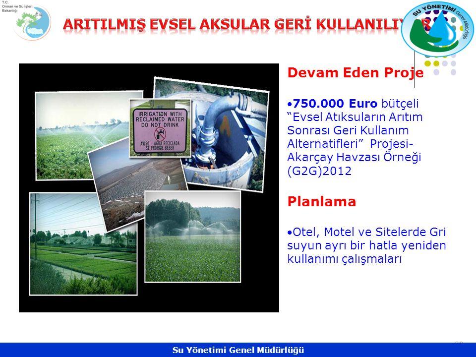 32 Devam Eden Proje 750.000 Euro bütçeli Evsel Atıksuların Arıtım Sonrası Geri Kullanım Alternatifleri Projesi- Akarçay Havzası Örneği (G2G)2012 Planlama Otel, Motel ve Sitelerde Gri suyun ayrı bir hatla yeniden kullanımı çalışmaları Su Yönetimi Genel Müdürlüğü