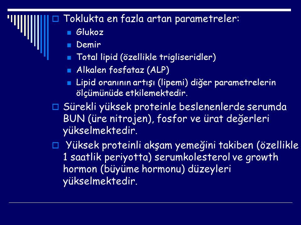  Toklukta en fazla artan parametreler: Glukoz Demir Total lipid (özellikle trigliseridler) Alkalen fosfataz (ALP) Lipid oranının artışı (lipemi) diğe