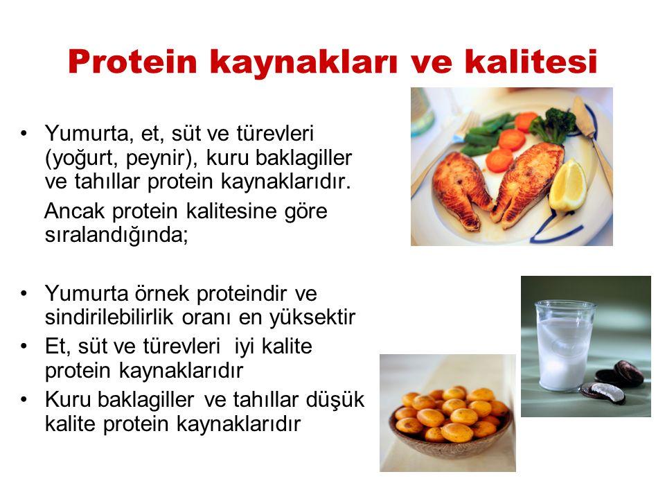 Protein kaynakları ve kalitesi Yumurta, et, süt ve türevleri (yoğurt, peynir), kuru baklagiller ve tahıllar protein kaynaklarıdır. Ancak protein kalit