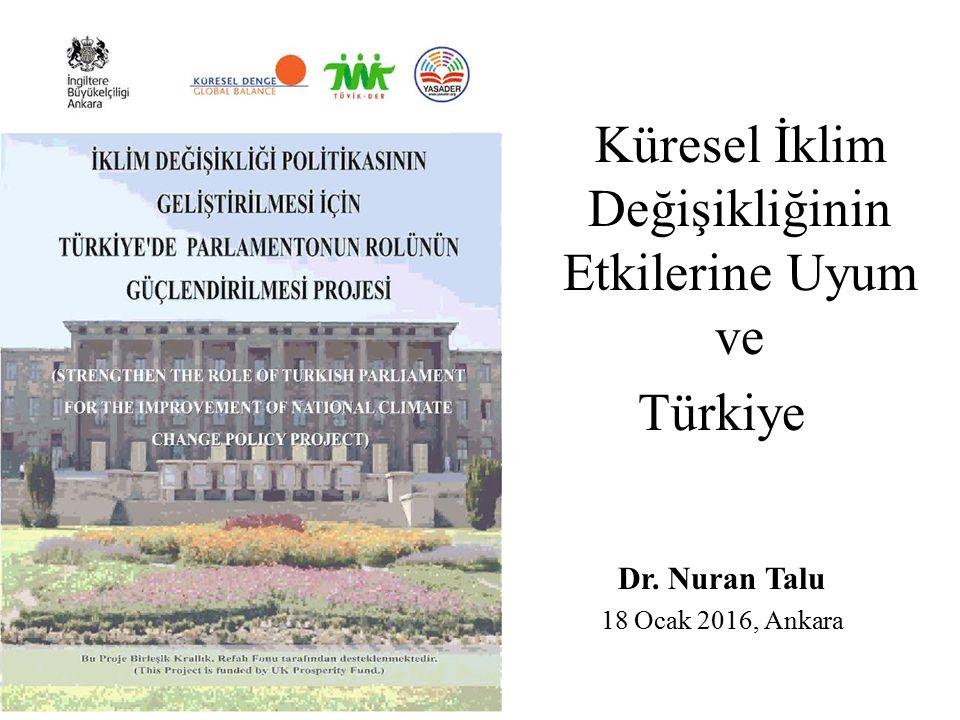 Küresel İklim Değişikliğinin Etkilerine Uyum ve Türkiye Dr. Nuran Talu 18 Ocak 2016, Ankara
