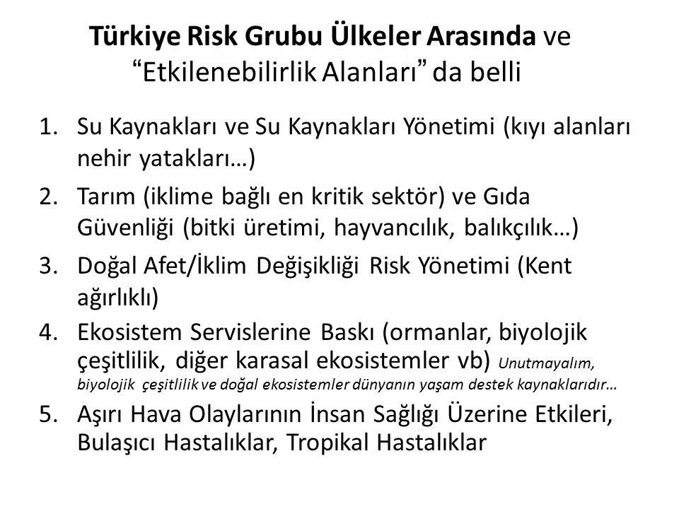 """Türkiye Risk Grubu Ülkeler Arasında ve """"Etkilenebilirlik Alanları"""" da belli 1.Su Kaynakları ve Su Kaynakları Yönetimi (kıyı alanları nehir yatakları…)"""