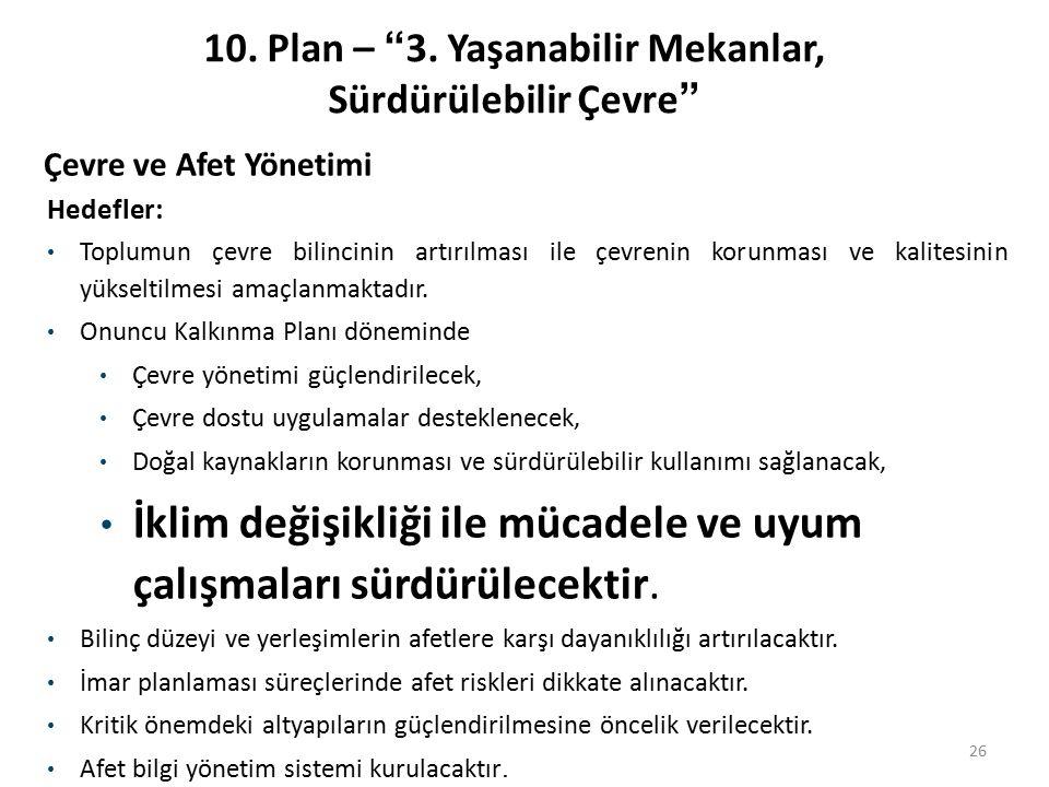 """10. Plan – """"3. Yaşanabilir Mekanlar, Sürdürülebilir Çevre"""" 26 Hedefler: Toplumun çevre bilincinin artırılması ile çevrenin korunması ve kalitesinin yü"""