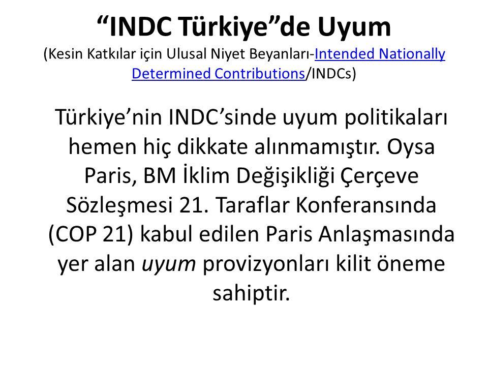 """""""INDC Türkiye""""de Uyum (Kesin Katkılar için Ulusal Niyet Beyanları-Intended Nationally Determined Contributions/INDCs)Intended Nationally Determined Co"""