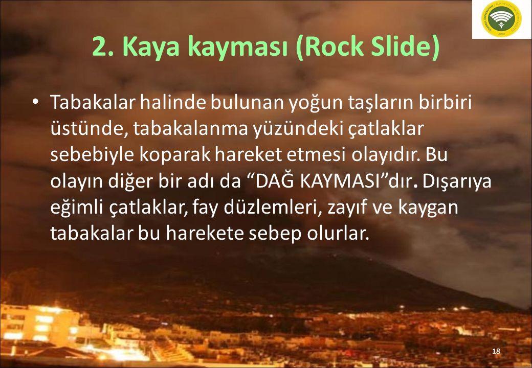 18 2. Kaya kayması (Rock Slide) Tabakalar halinde bulunan yoğun taşların birbiri üstünde, tabakalanma yüzündeki çatlaklar sebebiyle koparak hareket et