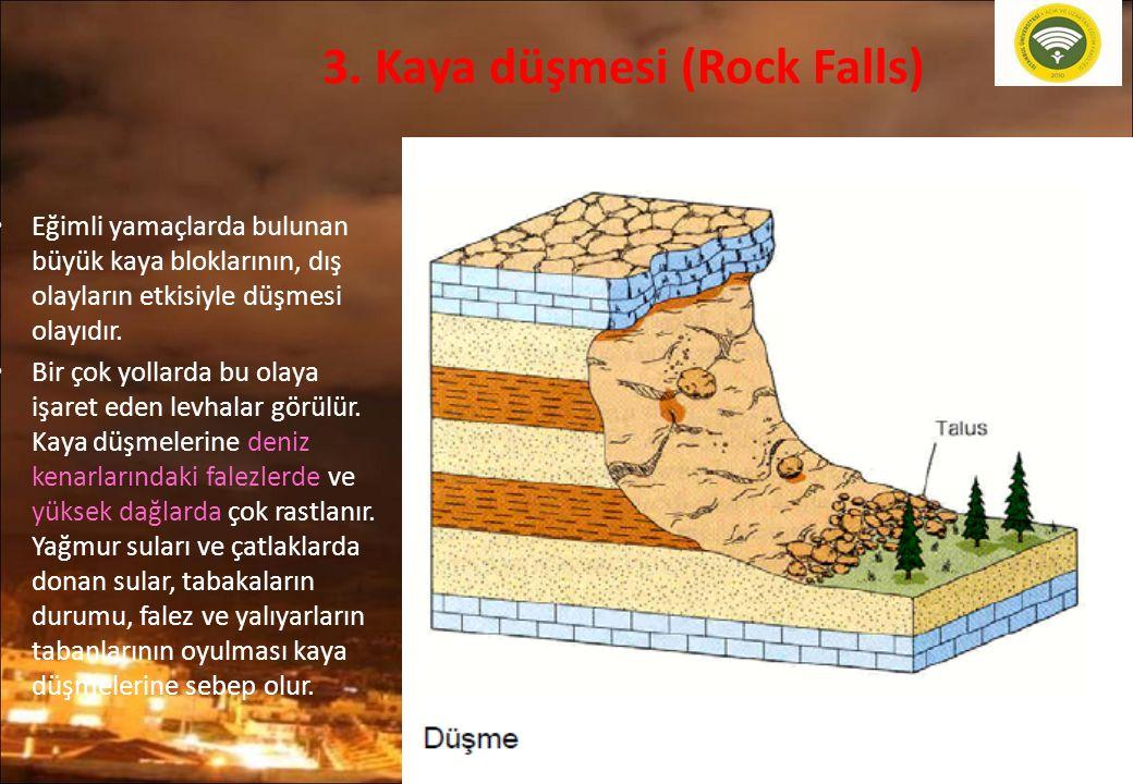 20 3. Kaya düşmesi (Rock Falls) Eğimli yamaçlarda bulunan büyük kaya bloklarının, dış olayların etkisiyle düşmesi olayıdır. Bir çok yollarda bu olaya