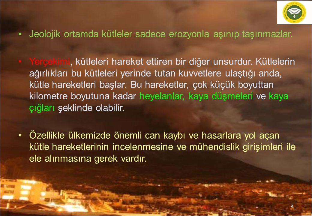 Türkiye'de Meydana Gelen Önemli heyelanlar Batı Karadeniz Heyelanları 1998 : Aşırı Kar yağışın gerçekleştiği kış mevsiminin ardından karların dağlarda hızla erimesi sonucunda derelerin güçlü akması özellikle su toplama havzalarındaki yerleşim yerlerini etkilemiş Zonguldak, Sinop, Bartın ve Kastamonu illerindeki 1684 konutu etkileyen heyelanlar meydana gelmiştir.