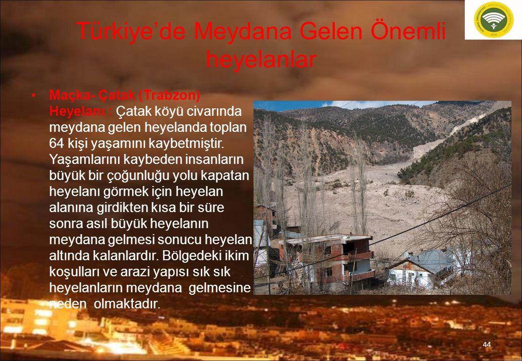 Türkiye'de Meydana Gelen Önemli heyelanlar Maçka- Çatak (Trabzon) Heyelanı : Çatak köyü civarında meydana gelen heyelanda toplan 64 kişi yaşamını kaybetmiştir.