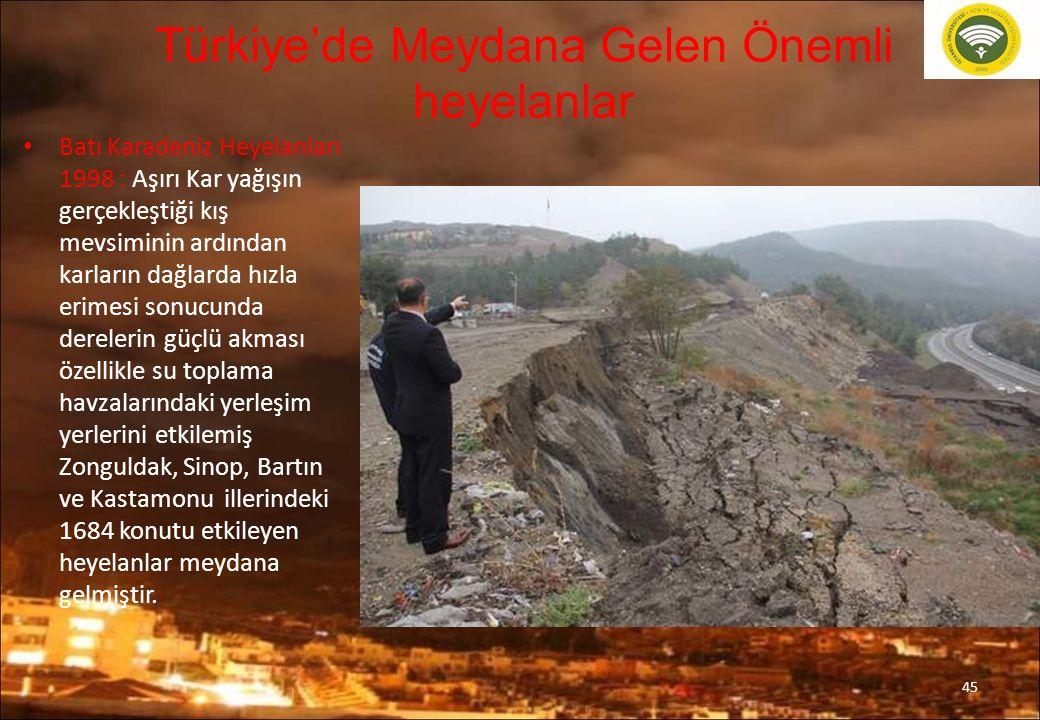 Türkiye'de Meydana Gelen Önemli heyelanlar Batı Karadeniz Heyelanları 1998 : Aşırı Kar yağışın gerçekleştiği kış mevsiminin ardından karların dağlarda