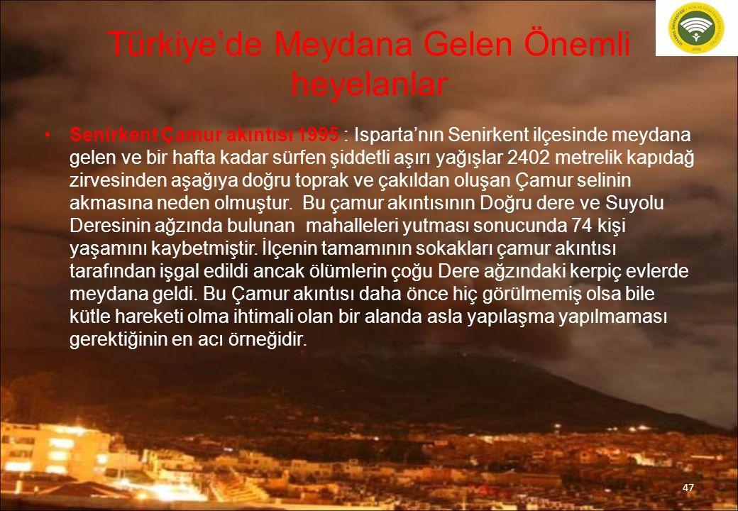 Türkiye'de Meydana Gelen Önemli heyelanlar Senirkent Çamur akıntısı 1995 : Isparta'nın Senirkent ilçesinde meydana gelen ve bir hafta kadar sürfen şid