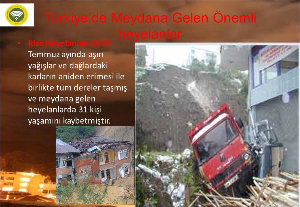 Türkiye'de Meydana Gelen Önemli heyelanlar Rize Heyelanları 2002: Temmuz ayında aşırı yağışlar ve dağlardaki karların aniden erimesi ile birlikte tüm