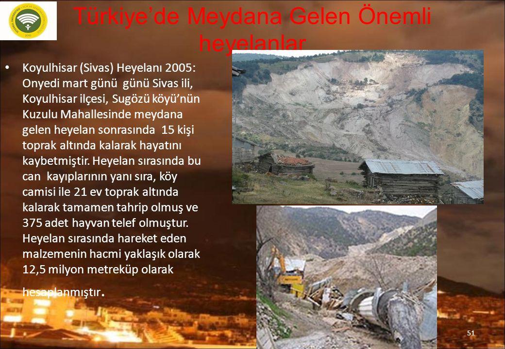 Türkiye'de Meydana Gelen Önemli heyelanlar Koyulhisar (Sivas) Heyelanı 2005: Onyedi mart günü günü Sivas ili, Koyulhisar ilçesi, Sugözü köyü'nün Kuzulu Mahallesinde meydana gelen heyelan sonrasında 15 kişi toprak altında kalarak hayatını kaybetmiştir.