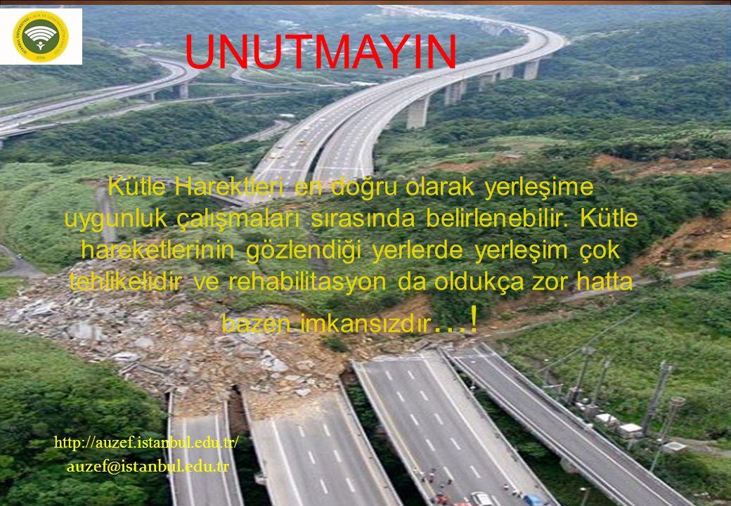 52 http://auzef.istanbul.edu.tr/ auzef@istanbul.edu.tr UNUTMAYIN Kütle Harektleri en doğru olarak yerleşime uygunluk çalışmaları sırasında belirlenebi