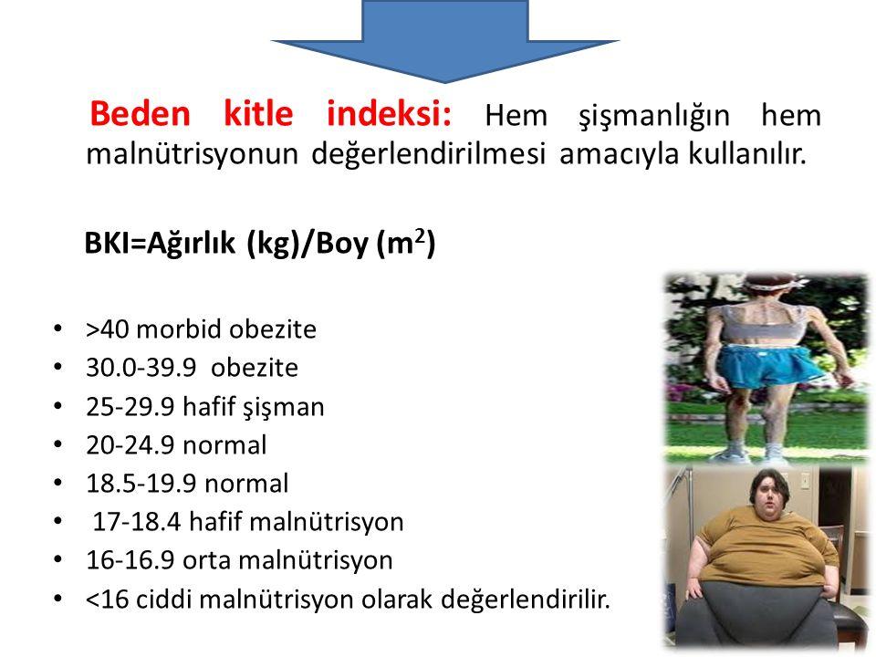Beden kitle indeksi: Hem şişmanlığın hem malnütrisyonun değerlendirilmesi amacıyla kullanılır. BKI=Ağırlık (kg)/Boy (m 2 ) >40 morbid obezite 30.0-39.