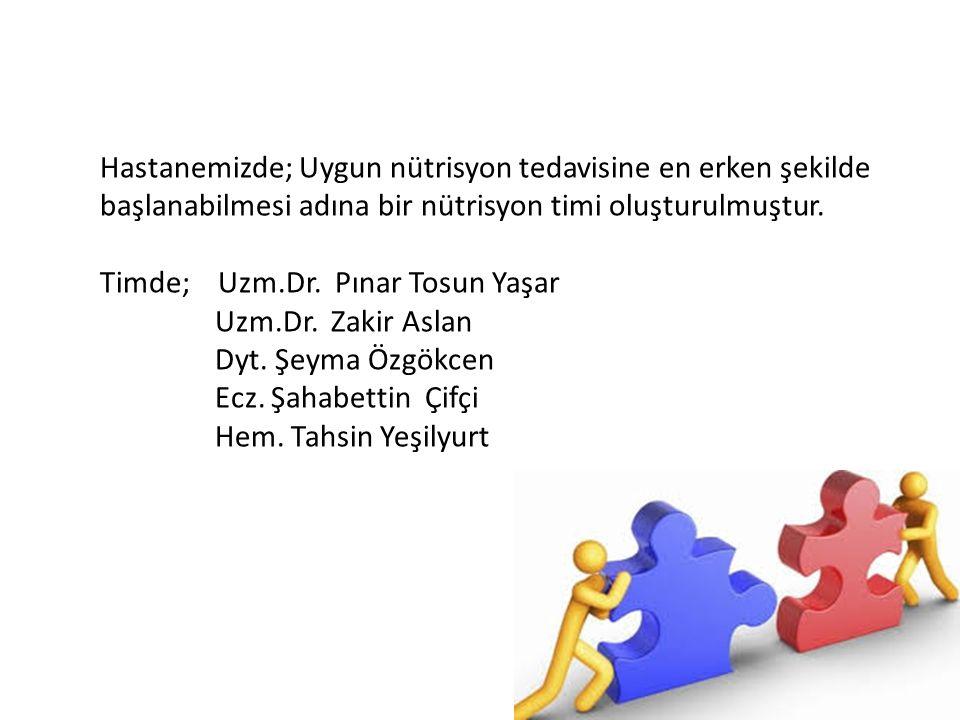Hastanemizde; Uygun nütrisyon tedavisine en erken şekilde başlanabilmesi adına bir nütrisyon timi oluşturulmuştur. Timde; Uzm.Dr. Pınar Tosun Yaşar Uz