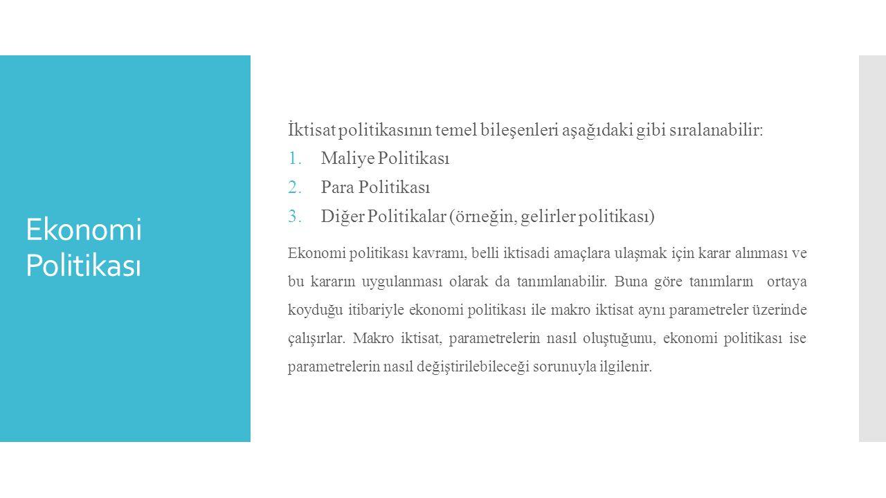 Ekonomi Politikası İktisat politikasının temel bileşenleri aşağıdaki gibi sıralanabilir: 1.Maliye Politikası 2.Para Politikası 3.Diğer Politikalar (ör