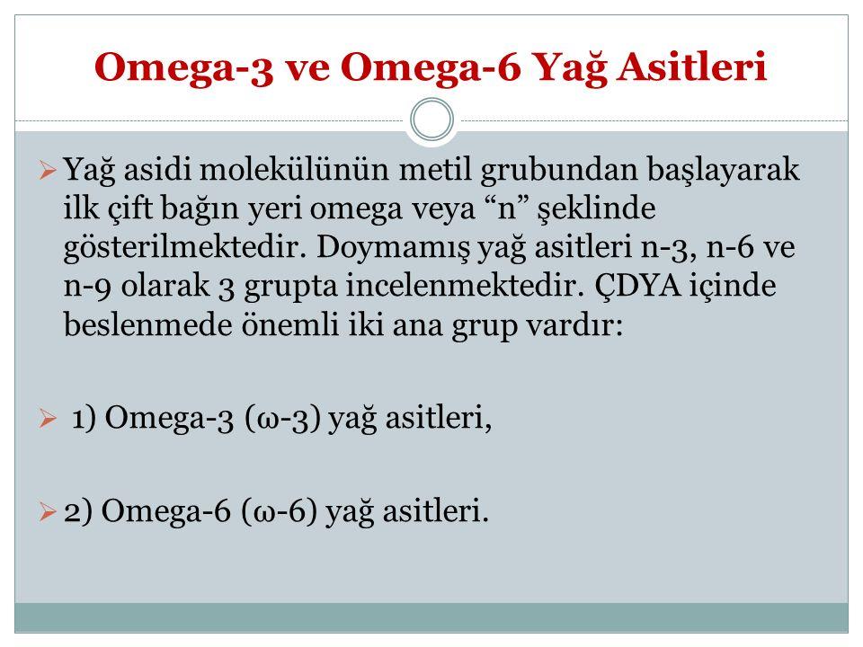 """Omega-3 ve Omega-6 Yağ Asitleri  Yağ asidi molekülünün metil grubundan başlayarak ilk çift bağın yeri omega veya """"n"""" şeklinde gösterilmektedir. Doyma"""
