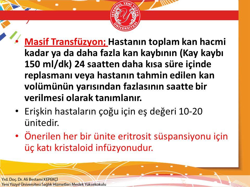 Masif Transfüzyon; Hastanın toplam kan hacmi kadar ya da daha fazla kan kaybının (Kay kaybı 150 ml/dk) 24 saatten daha kısa süre içinde replasmanı veya hastanın tahmin edilen kan volümünün yarısından fazlasının saatte bir verilmesi olarak tanımlanır.