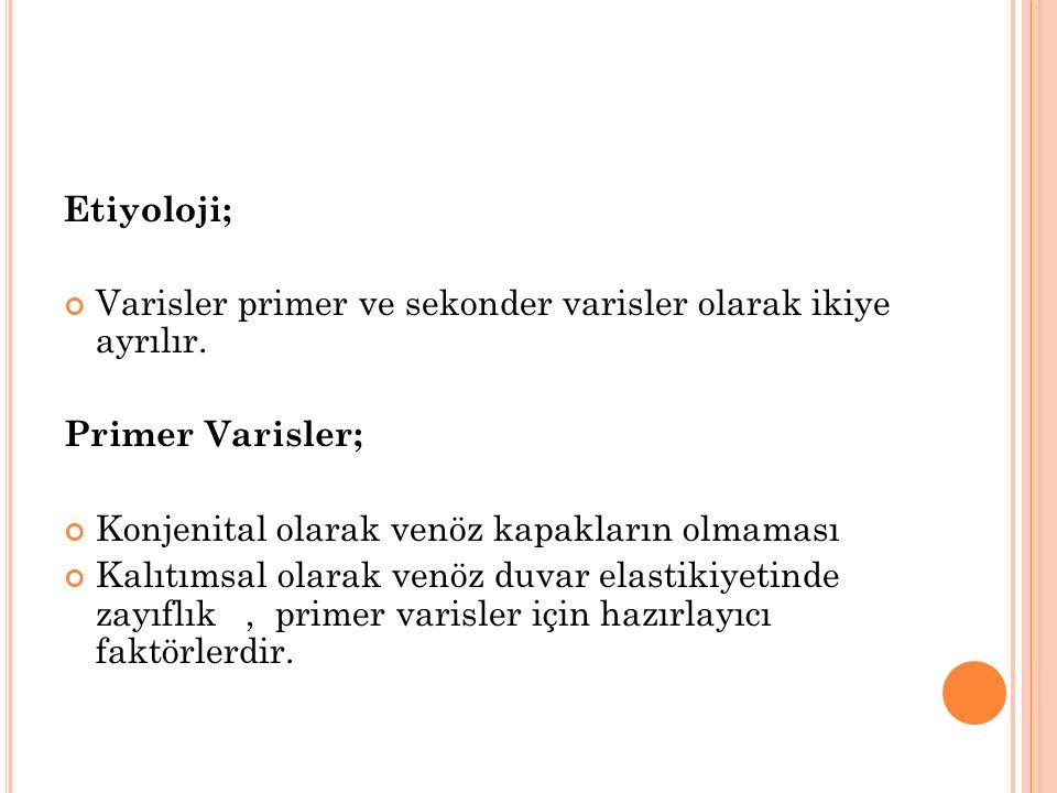 Etiyoloji; Varisler primer ve sekonder varisler olarak ikiye ayrılır.