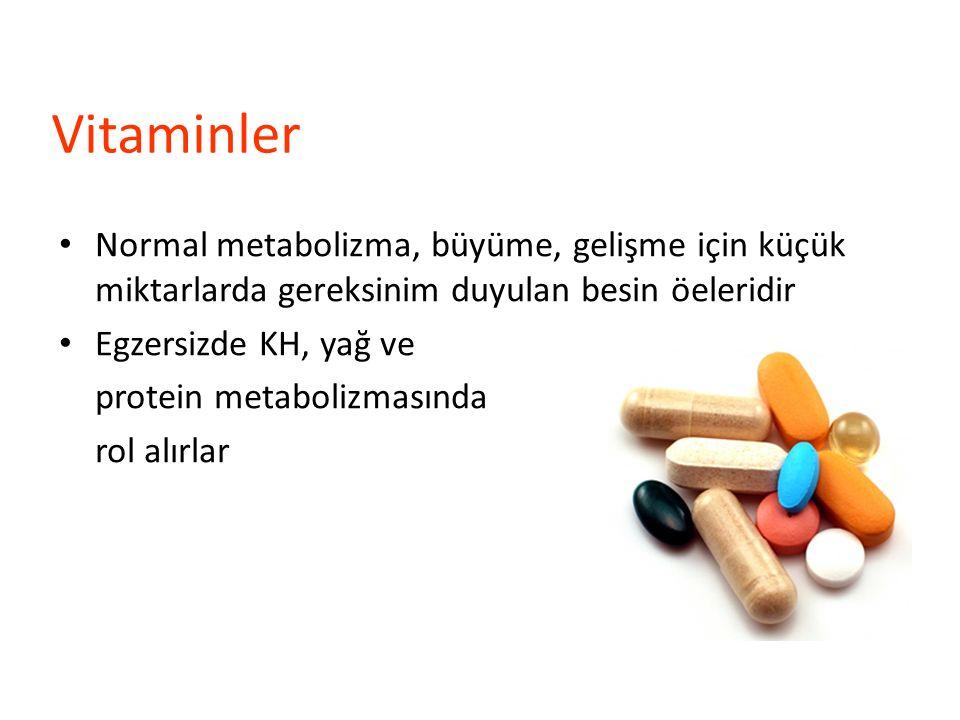 Vitaminler Normal metabolizma, büyüme, gelişme için küçük miktarlarda gereksinim duyulan besin öeleridir Egzersizde KH, yağ ve protein metabolizmasınd