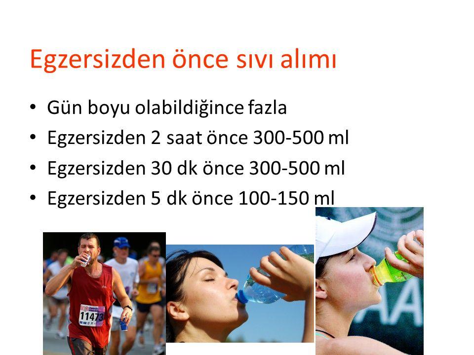 Egzersizden önce sıvı alımı Gün boyu olabildiğince fazla Egzersizden 2 saat önce 300-500 ml Egzersizden 30 dk önce 300-500 ml Egzersizden 5 dk önce 10