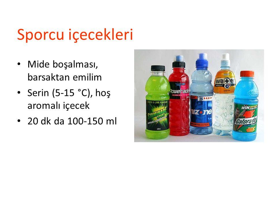 Sporcu içecekleri Mide boşalması, barsaktan emilim Serin (5-15 °C), hoş aromalı içecek 20 dk da 100-150 ml