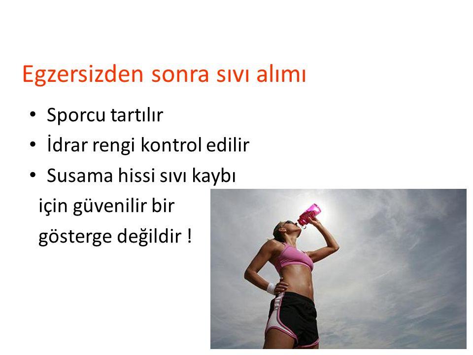 Egzersizden sonra sıvı alımı Sporcu tartılır İdrar rengi kontrol edilir Susama hissi sıvı kaybı için güvenilir bir gösterge değildir !